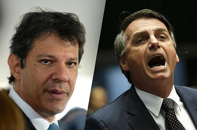 Haddad e Bolsonaro disputarão o segundo turno das eleições no dia 28 de outubro - Créditos: Montagem/divulgação