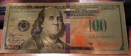 Gold $100 bill bookmark