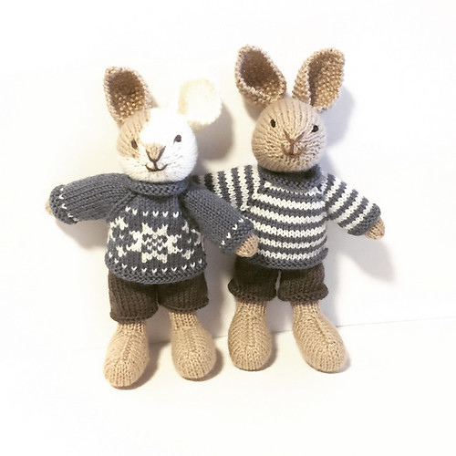 Two of bunnies I've made - Benedict and Bertie with Little Cotton Rabbits Boy Bunny pattern