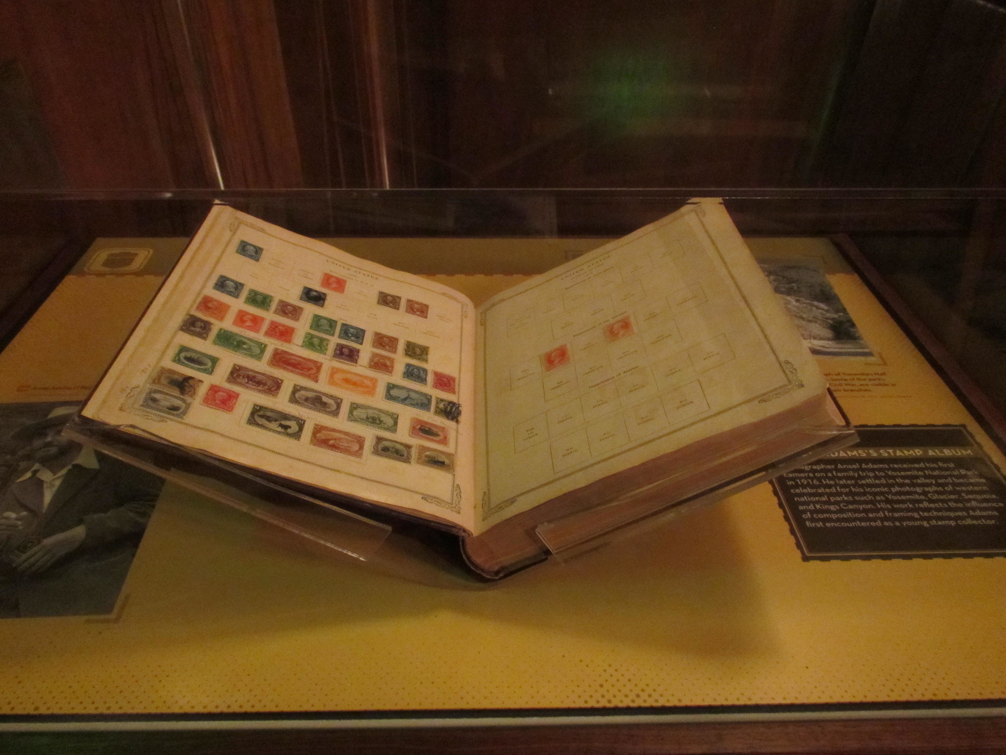 A stamp album owned by Ansel Adams is on display at the Smithsonian National Postal Museum in Washington, D.C. Photo taken on June 11, 2016..