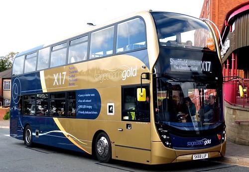SK68 LUF 'Yorkshire Traction' No. 11118, 'stagecoachgold X17'. Alexander Dennis Ltd. (ADL) E40D / 'ADL' Enviro 400MMC /1 on Dennis Basford's railsroadsrunways.blogspot.co.uk'