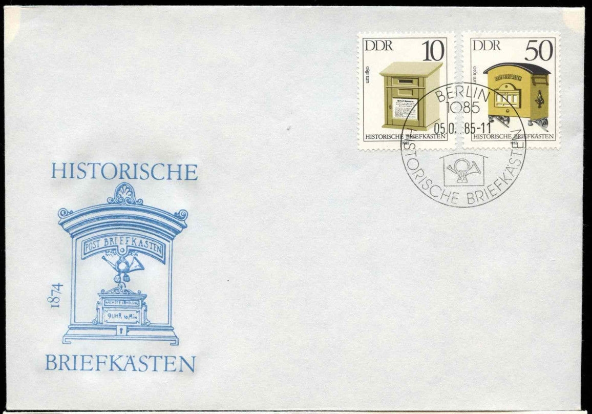 German Democratic Republic - Scott #2456 and #2459 (1985) first day cover