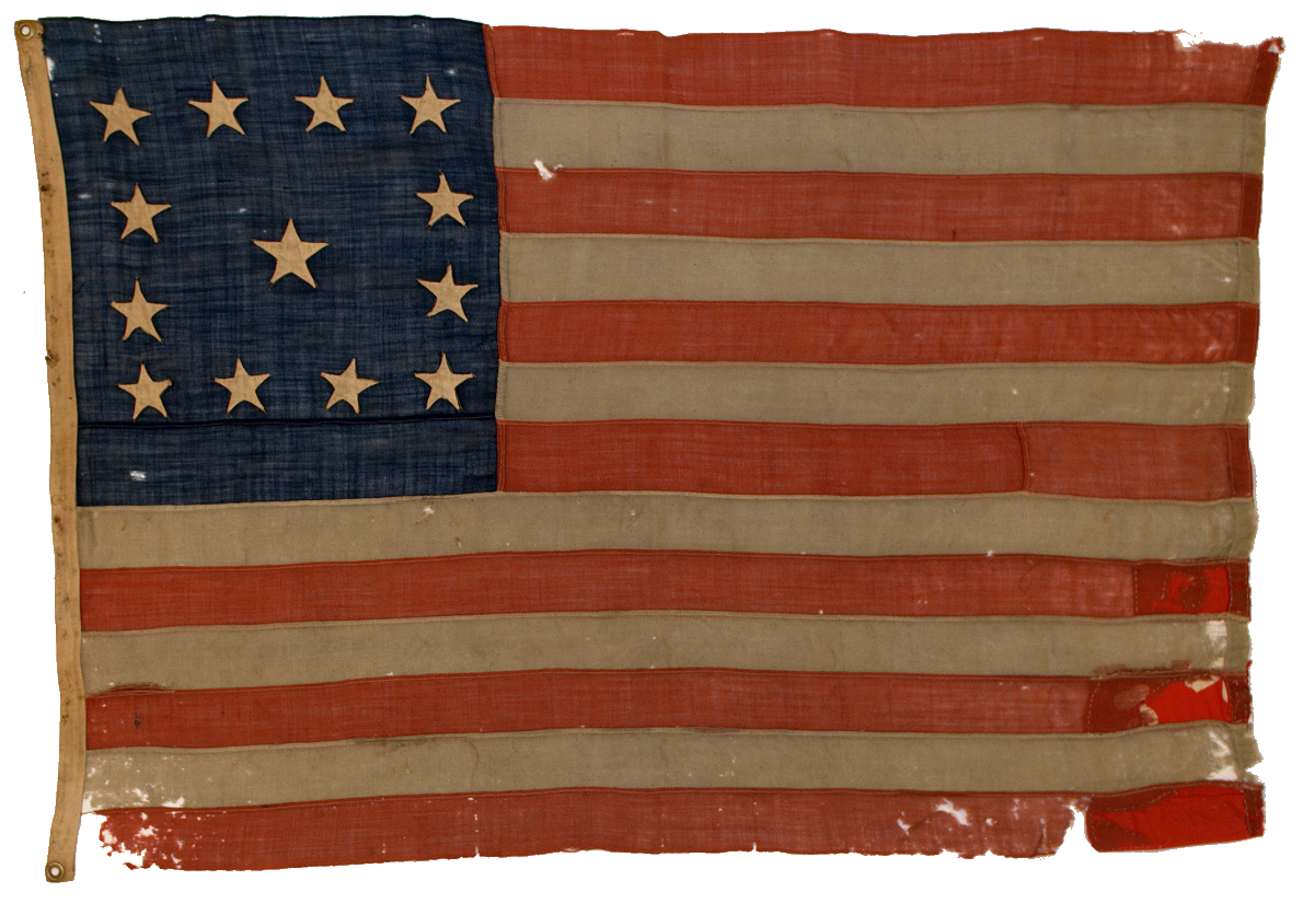 The flag which appeared in John Trumbull's painting of Burgoyne's surrender at Saratoga and others, but which was omitted on portrayals of the painting on U.S. stamps issued in 1927, 1977 and 1994.