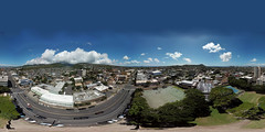 "Kaimuki aka ""the Top of the Hill"", aka ""Big City"", the hometown of my youth, as seen from my DJI Mavic Pro Kanoe hovering at 132 feet above Kaimuki Park where I learned to play baseball - an aerial 360° Equirectangular VR"