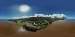 Waihole Beach from 245 feet - an aerial 360° Equirectangular VR