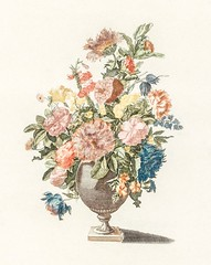 A vase with flowers by Johan Teyler (1648-1709). Original from the Rijks Museum. Digitally enhanced by rawpixel.