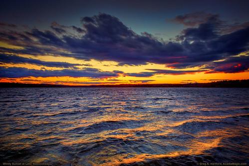 lake windy sunset twilight roughwater water waves landscape nature maine mainehighlands lakewassookeag wassookeag dexter dextermaine clouds sky reflection