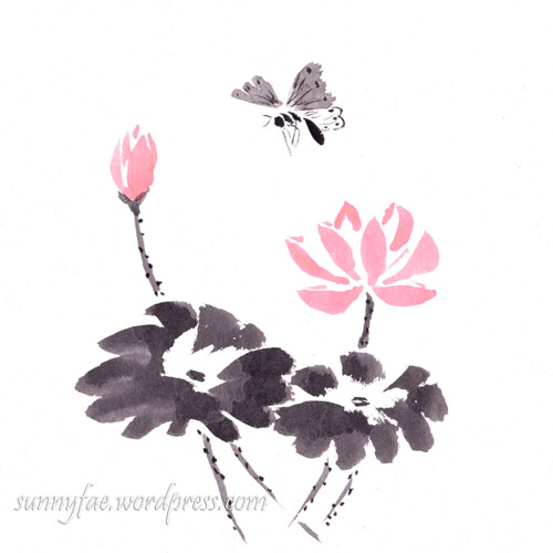 inkktober day 25 lotus and a butterfly
