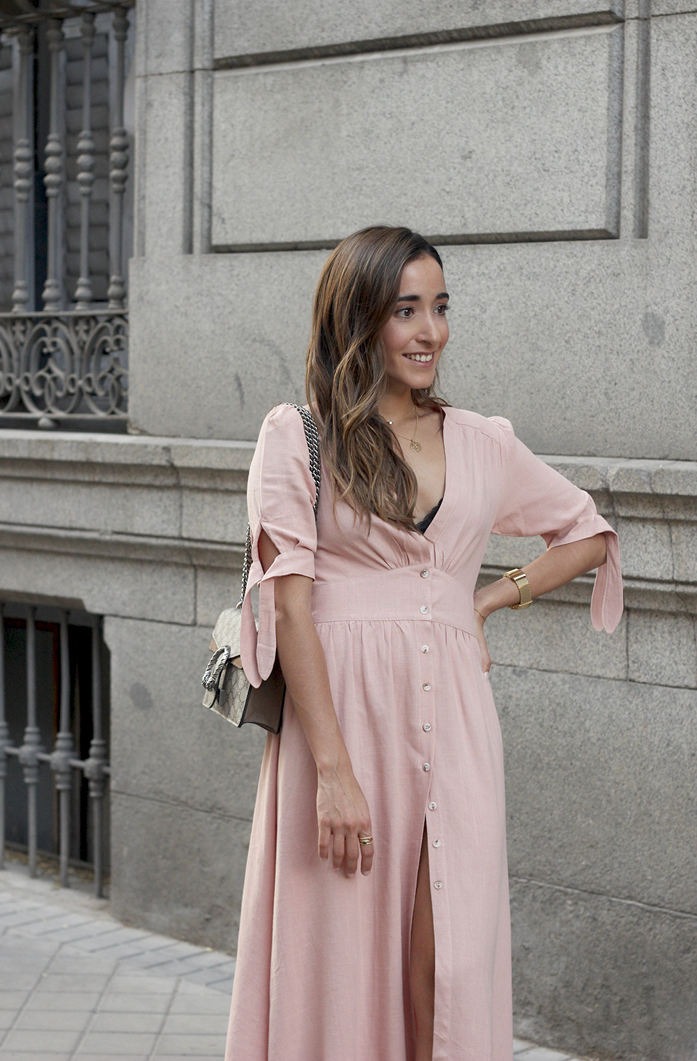 pink midi dress mules gucci bag outfit street style 201811