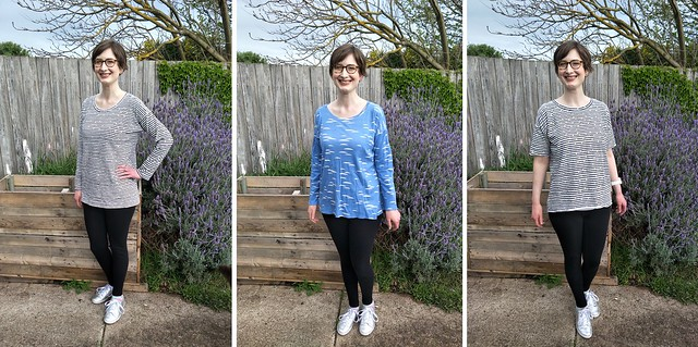 Three images of a woman standing in front of a garden fence. She wears the same outfit in each, with different variations on a tee pattern.
