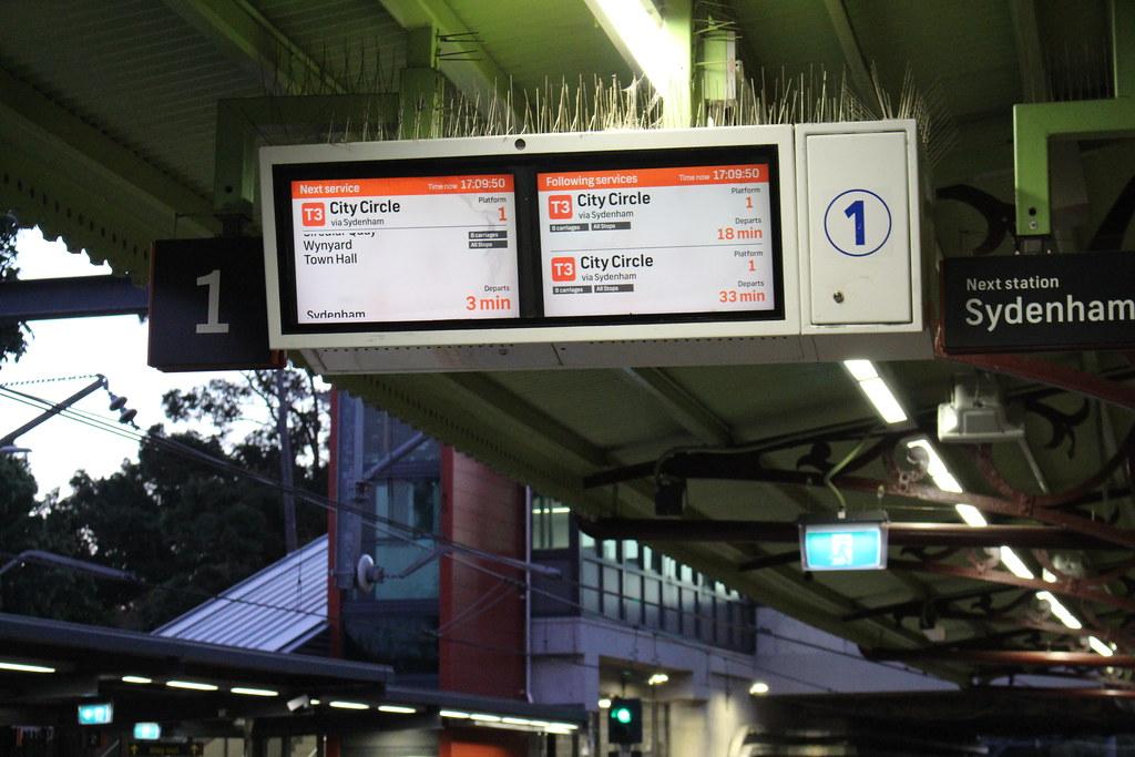 Sydney station platform PIDs
