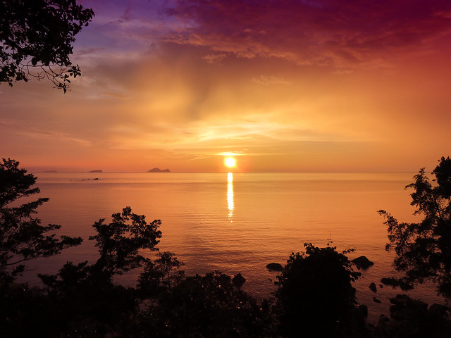 Sunset view from our Treehouse at Damai