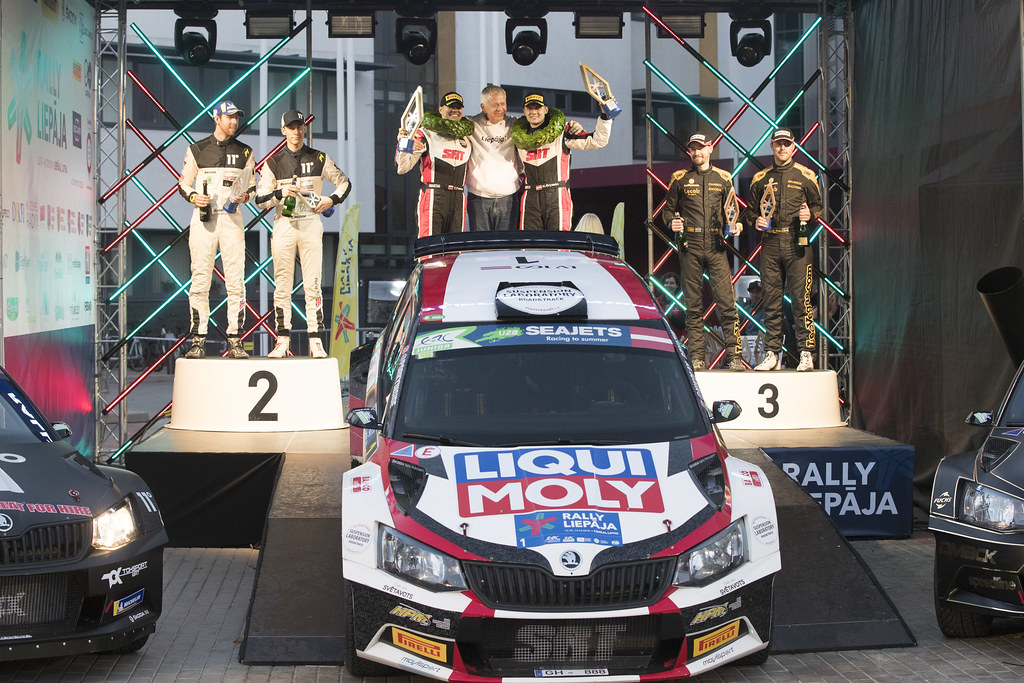 GRYAZIN Nikolay , (LVA), Sports Racing Technologies, Skoda Fabia R5,Portrait INGRAM Chris, (GBR), TOKSPORT WRT, Skoda Fabia R5,  Portrait, AHLIN Fredrik, (SWE), Skoda Fabia R5, Portrait podium ambiance during the 2018 European Rally Championship ERC Liepaja rally,  from october 12 to 14, at Liepaja, Lettonie - Photo Gregory Lenormand / DPPI