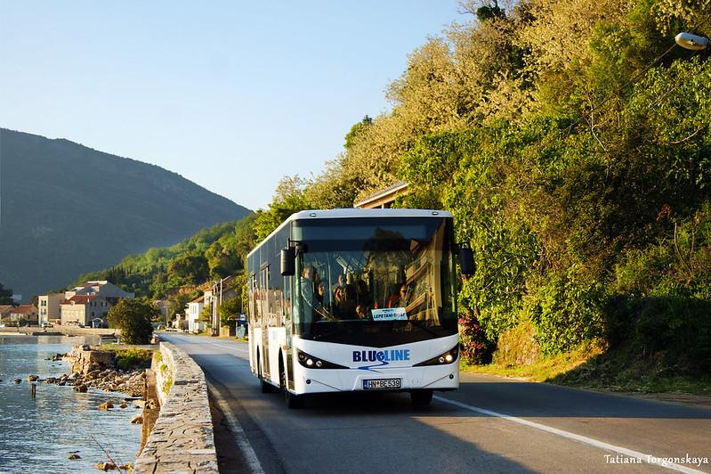 "Автобус ""Blue line"", едущий по маршруту Тиват - Лепетане"