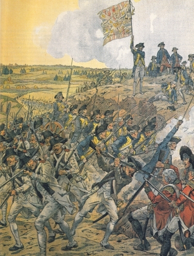 The French storming redoubt #9 during the Siege of Yorktown. Painting by Onfroy de Breville, 1900.