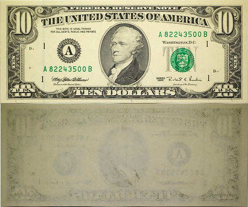 1995 Series US $10 Error Note, Unprinted Back