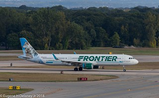 "Frontier Airlines, N717FR, 2017 Airbus A321-211 WL, MSN 7536, FN 717, ""Luna & Lilly The Wolves"""