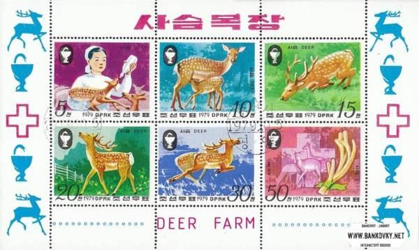Známky Severná Kórea 1979 Srnky, razítkovaný hárček