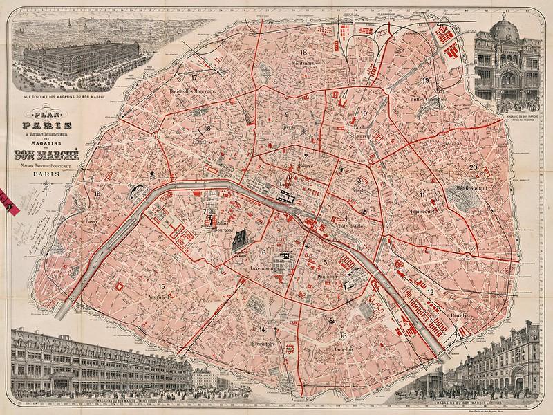 Bon-Marche - Plan de Paris a ruban indicateur des magasins du Bon-Marche (1892)