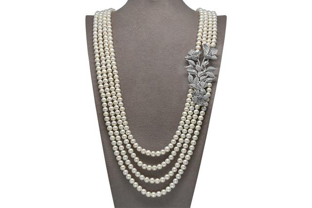 Ahsen 925K Gümüş Broşlu 4 Sıralı Doğal Beyaz inci Kolye AH-00089