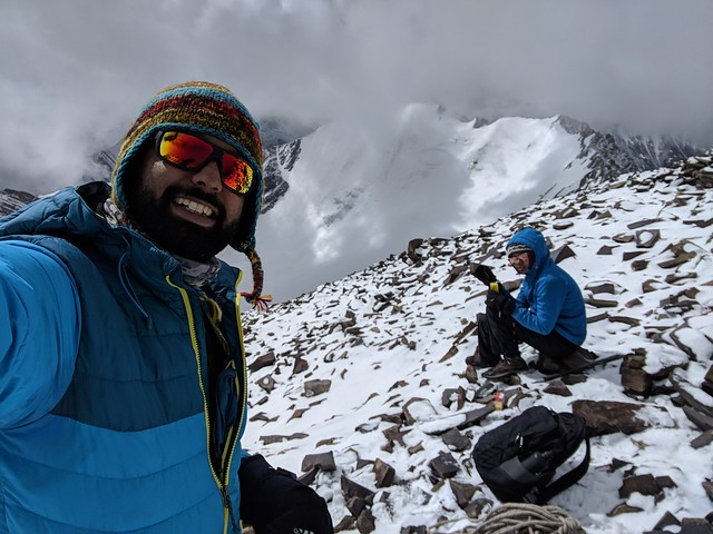 shoulder of stok, just before the final summit ridge climb
