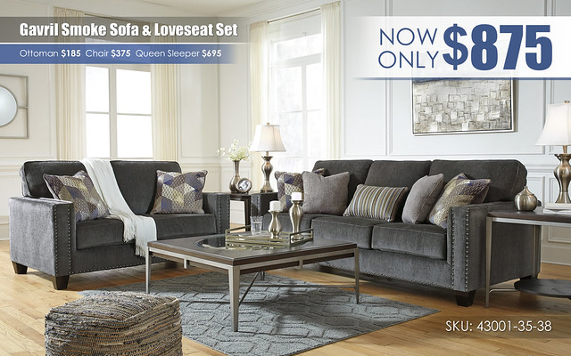 Gavril Smoke Sofa & Loveseat_43001-38-35-T710