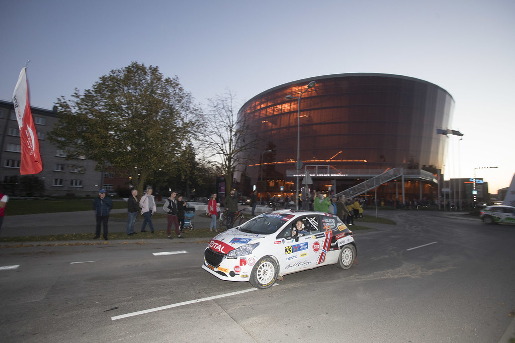 33 SOLBERG Oliver, (LVA), Veronica ENGAN, (NOR), Sports Racing Technologies, Peugeot 208 R2, Action during the 2018 European Rally Championship ERC Liepaja rally,  from october 12 to 14, at Liepaja, Lettonie - Photo Gregory Lenormand / DPPI