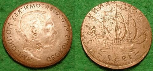 1947 Half Penny Double Brockage