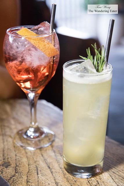 Spritz & The Tantrums and Collins (grey goose, pear, rosemary honey, douglas fir liqueur, lemon, and fresh soda)