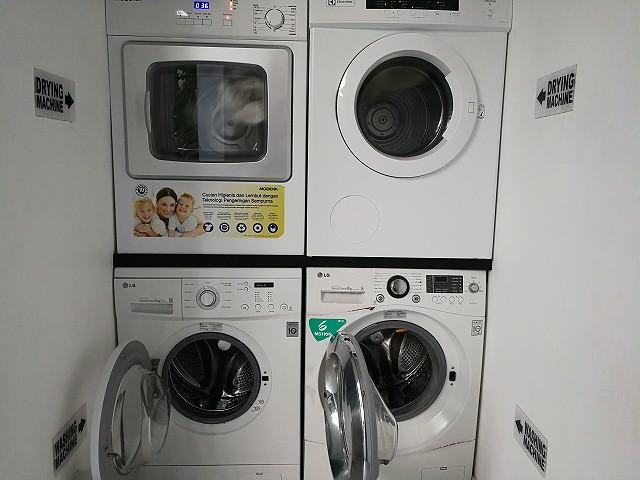 <p>下の2つが洗濯機、上部が乾燥機です。</p>