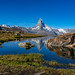 Matterhorn seen from Stellisee Lake, Zermatt Switzerland