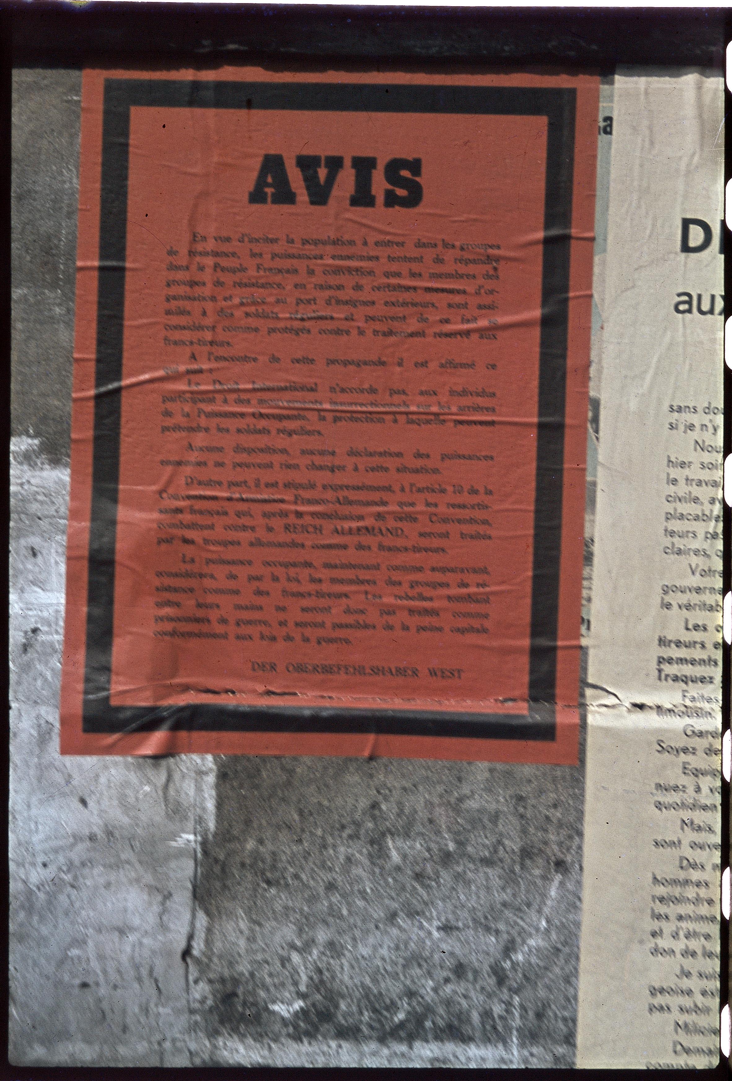 Объявление комендатуры о взятии заложников