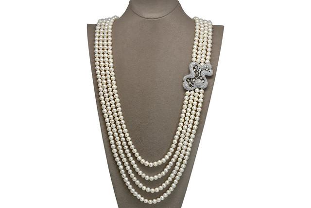 Ahsen 925K Gümüş Broşlu 4 Sıra Doğal Beyaz inci Kolye AH-00086