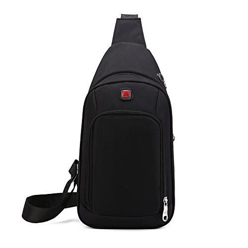 Cheap Shuaibo Sling Crossbody Bag Waterproof Unbalance Chest Gym Bag,Men Women Adjustible Shoulder Crossbody Daypacks Outdoor Sports Hiking,Bike,Traveling Casual Pack,Black Color