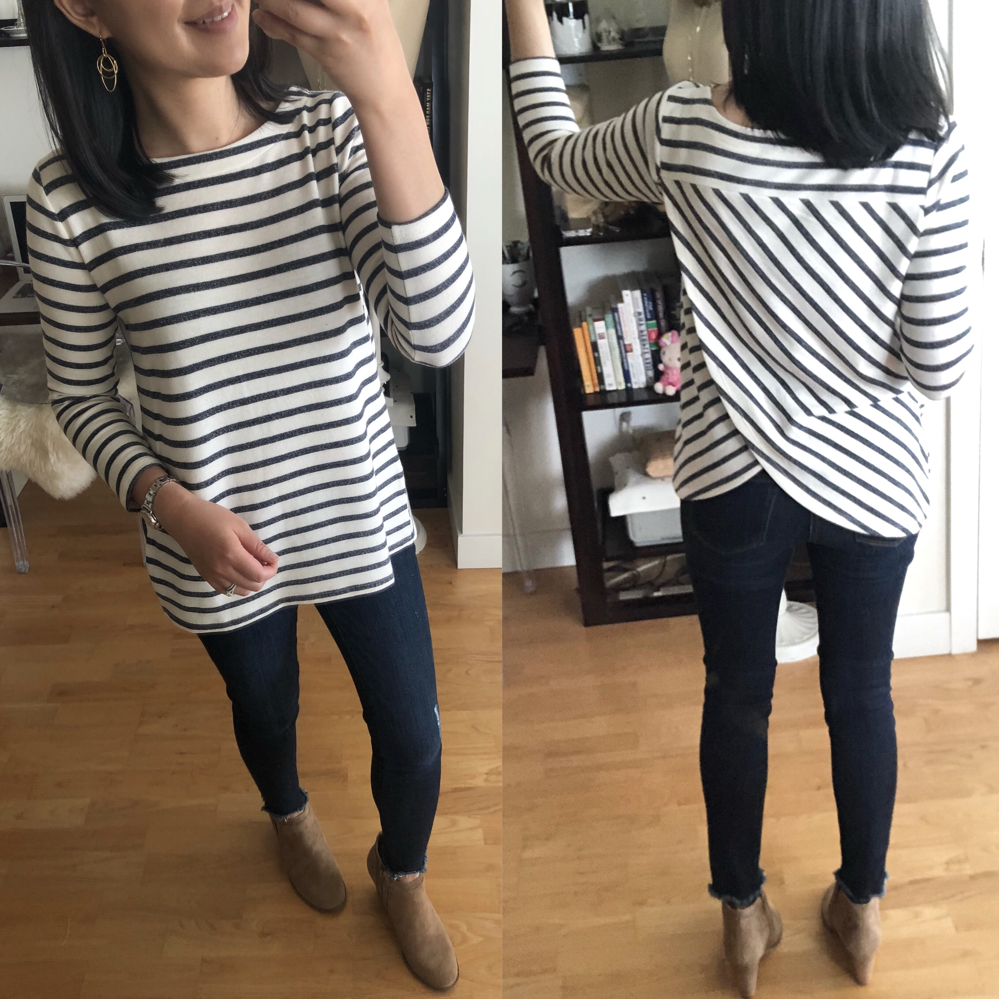 LOFT Striped Tulip Back Sweatshirt, size XSP