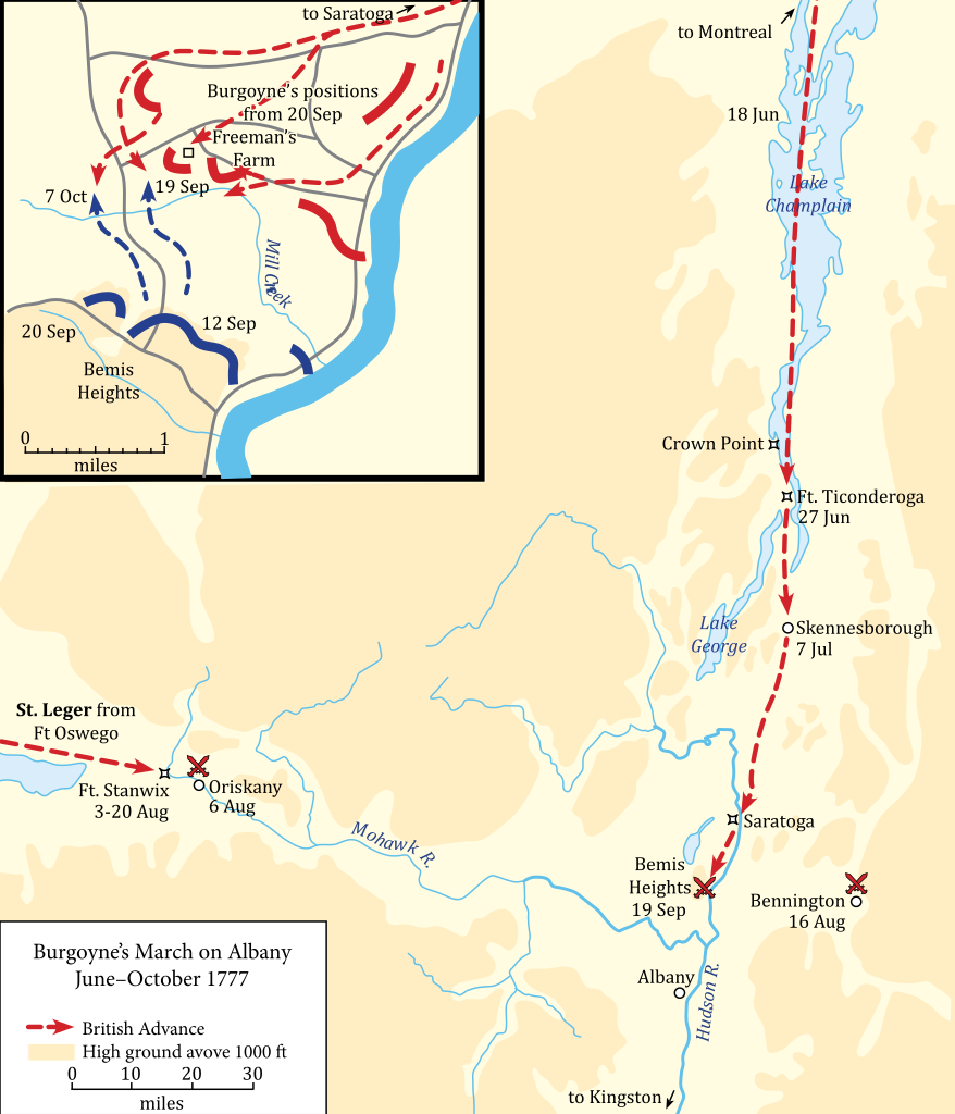 British General John Burgoyne's March on Albany, June-October 1777, also known as the Saratoga Campaign.