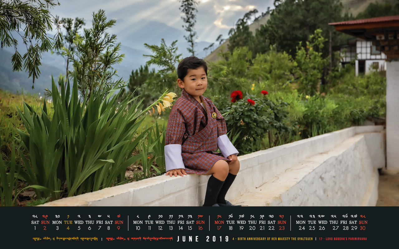 Bhutan calendar: June 2019