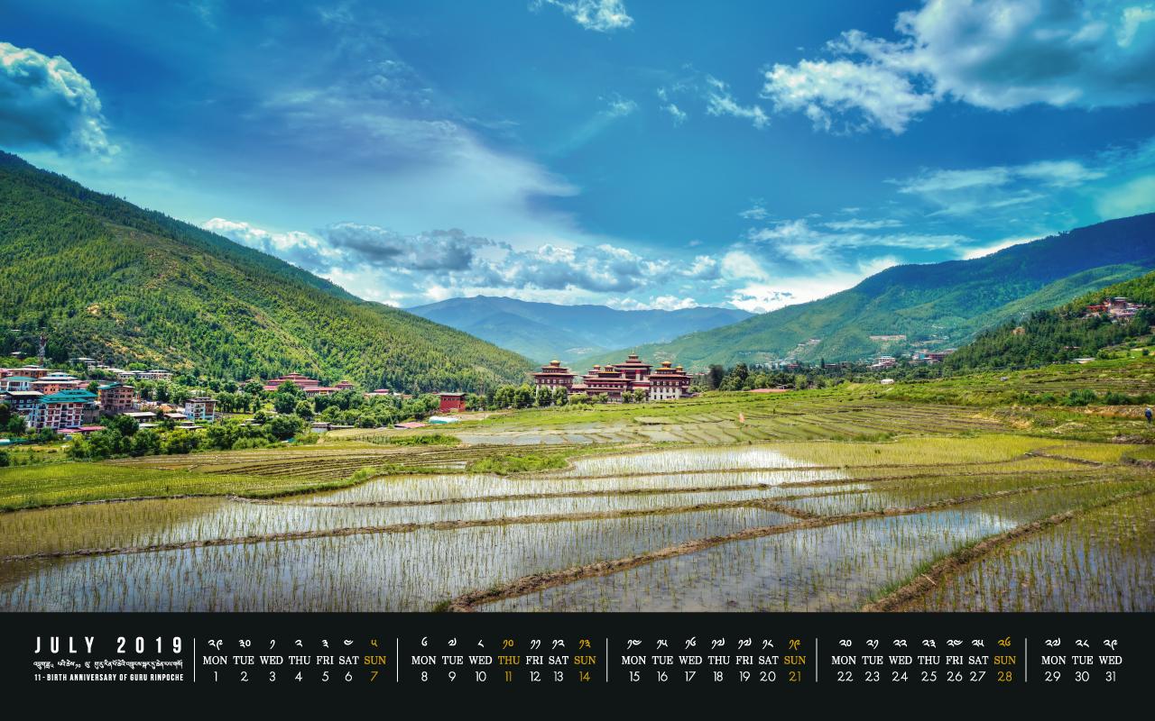 Bhutan calendar: July 2019