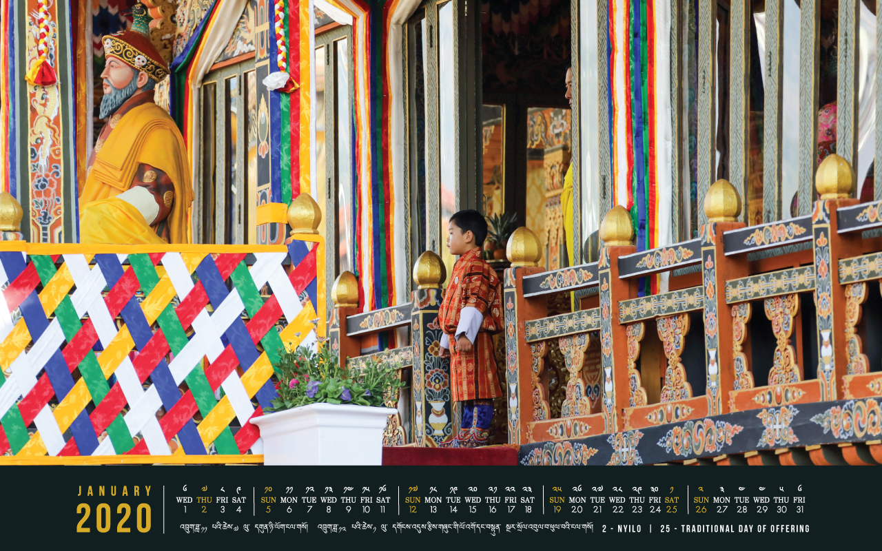 Bhutan calendar: January 2020
